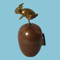 Antique Victorian c1800's metal Rabbit or BUNNY on a brass base TAPE MEASURE