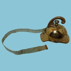 ANTIQUE Fire Helmet Wind-Up Tape Measure, Brass c1800's RaRe!