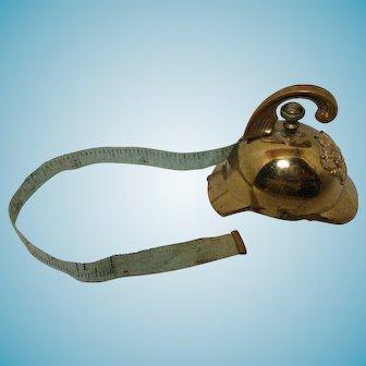 ANTIQUE Fire Helmet Wind-Up Tape Measure, Brass c1800's RaRe!