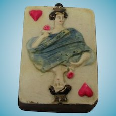 Antique  Queen of Hearts Playing Card Porcelain Tape Measure, 19th century