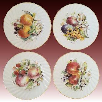 Set of 4 Staffordshire Seasonal Fruit Motif Signed Fine 'English Bone China' Plates