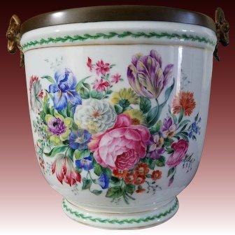 HP Antique French Porcelain Jardinière Floral with Bronze Doré Rams Head Handles