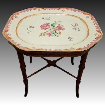Chinese Export Rose Famille Large Platter on Custom Stand Turned with Bamboo Motif