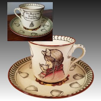 """Rare Royal Doulton Cup and Saucer """"Tea Time Sayings"""" in Magenta, Produced in Very Early Part of the 1900s beginning c.1902"""