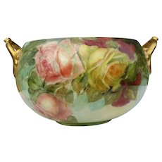 Willets Belleek Jardinière, Signed, Marked, with Pink Roses, Lush Glaze Early 20th C American Porcelain
