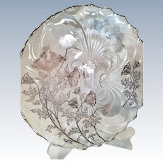 Sterling Silver Overlay Glass Cake Stand Flanders Poppy Flowers