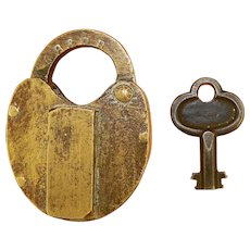 CB & Q RR Brass Lock with Steel Key, Chicago, Burlington & Quincy
