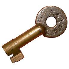 A & P Alton & Pacific Railroad Brass Switch Key, Adlake
