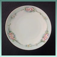 Early 1900s J&C Bavaria HP Decorative Green-Rimmed Flowered Luncheon Plate