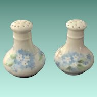 Early 1900s MZ Austria HP Blue Forget-Me-Nots and White Flowers Salt and Pepper Shakers