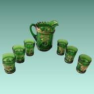Northwood Golden Peach Emerald Green Water Set Early 1900s Pitcher with Six Tumblers