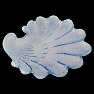 Duncan and Miller Sanibel Blue Opalescent Glass Salad Plate 1940s