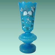 Blue Satin Botanical with Butterfly Motif Bristol Glass Vase Circa 1900