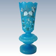 Blue Satin Bristol Glass Vase Hand-Painted Botanical with Butterfly Motif  Circa 1900