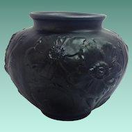 Tiffin Poppy 1930s Black Satin Glass Vase