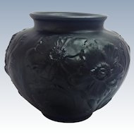 Tiffin Poppy 1930s Black Satin Glass Vase