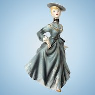 Mid Century Lady in Gray Victorian Style Figurine