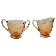 Fostoria Fairfax Elegant Glass Amber Cream and Sugar