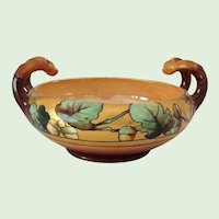 Signed HP Acorn/Oak Leaf Arts and Crafts Handled Bowl Early 1900s