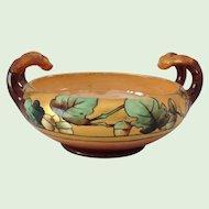 Hand Painted Signed Elsa Schmidt Acorn/Oak Leaf Arts and Crafts Antique Handled Bowl Early 1900s