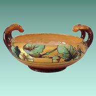 Arts and Crafts Acorn/Oak Leaf Handled Bowl Early 1900s Signed Elsa Schmidt