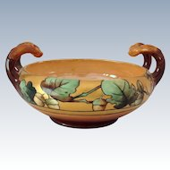 Hand Painted Signed Elsa Schmidt Acorn/Oak Leaf Arts and Crafts Antique Handled Bowl Early 1900s
