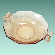 Fostoria Fairfax Amber Elegant Glass Two-Handled Lemon Dish