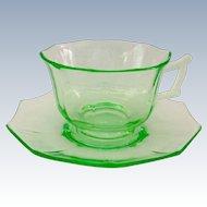 Cambridge Decagon Elegant Glass Emerald Green Depression Era Cup and Saucer