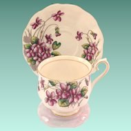 Royal Albert Bone China Flower of the Month February Violets Teacup and Saucer