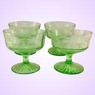 Hocking Circle Green Depression Glass Sherbets - Set of Four
