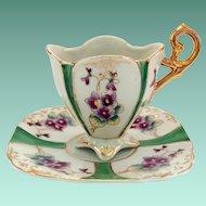 Quatrefoil Violets Green Paneled High Heart-Shaped Handle Demitasse Cup and Saucer Japan