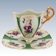 Quatrefoil Violets Green Paneled High Heart-Shaped Handle Demitasse Cup and Saucer Japan