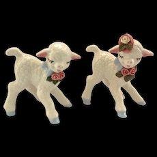 Pair of Cordelia China Ohio Pottery Lamb Figurines Circa 1940s