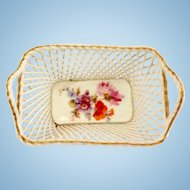 Miniature Porcelain Woven Basket Made in Germany