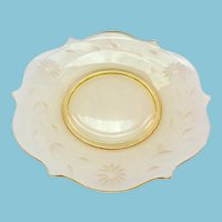 Lancaster Jubilee Topaz Yellow Depression Era Glass Luncheon Plate