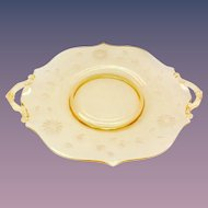 Lancaster Jubilee Topaz Yellow Depression Era Glass Two-Handled Sandwich Plate