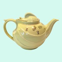 Hall Canary Yellow Parade Teapot with Hooked Cover and Gold Decorated Acorns