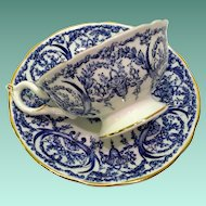 Coalport Bone China Cobalt Blue and White Basket and Garland 5012F Teacup and Saucer