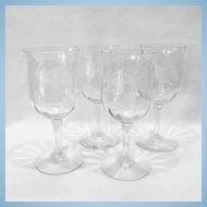 Central Glass Clear Thistle No. 10 Etch Water Goblets - Set of Four