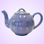 Hall Cadet Blue 6-Cup French Shape Teapot Gold Decorated French Flower