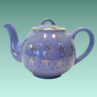 Hall Gold Decorated French Flower Cadet Blue 6 Cup French Teapot