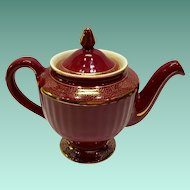 Hall China Maroon Gold Decorated Los Angeles 6 Cup Teapot