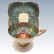 Alka West Germany Gold on Blue 935 Lotus Flower Teacup and Saucer