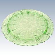 Jeannette Cherry Blossom Green Depression Glass Cake Plate