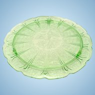 Jeannette Cherry Blossom Green Depression Glass Cake Plate