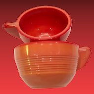 Pair Akro Agate Glass Pumpkin Orange Depression Era Child's Teacups - Concentric Rings