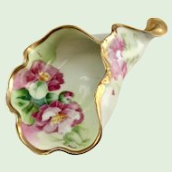 Limoges France Old Abbey Curled Horn-shaped Lady's Spittoon or Cuspidor - Artist Signed