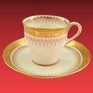 Minton England Birk's Gold Trimmed Demitasse Cup and Saucer - Early 1900s