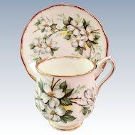 Royal Albert Bone China White Dogwood Demitasse Cup and Saucer