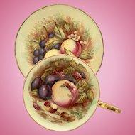 Aynsley Bone China Yellow Fruit Teacup and Saucer Signed D. Jones